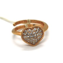 REBECCA BRONZE SOLITAIRE ROSE RING HEART WITH CUBIC ZIRCONIA B14ARB04 ITALY MADE image 1