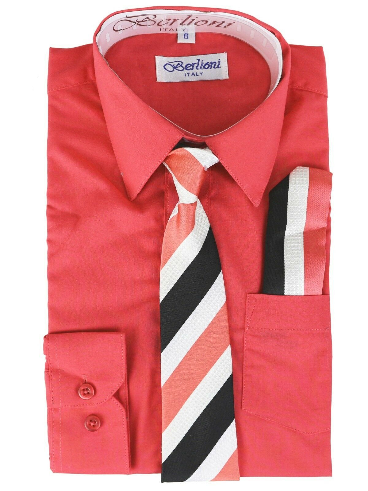 Berlioni Kids Boys Long Sleeve Dress Shirt With Tie and Hanky Lemon