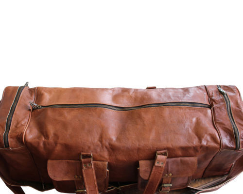 New 100% Real Brown Soft Rustic Leather Duffel Sports Gym Weekend Travel Bags