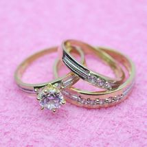 14K Yellow Gold Plated 2Ct Round D/VVS1 Diamond His-Her Trio Wedding Rin... - $99.99