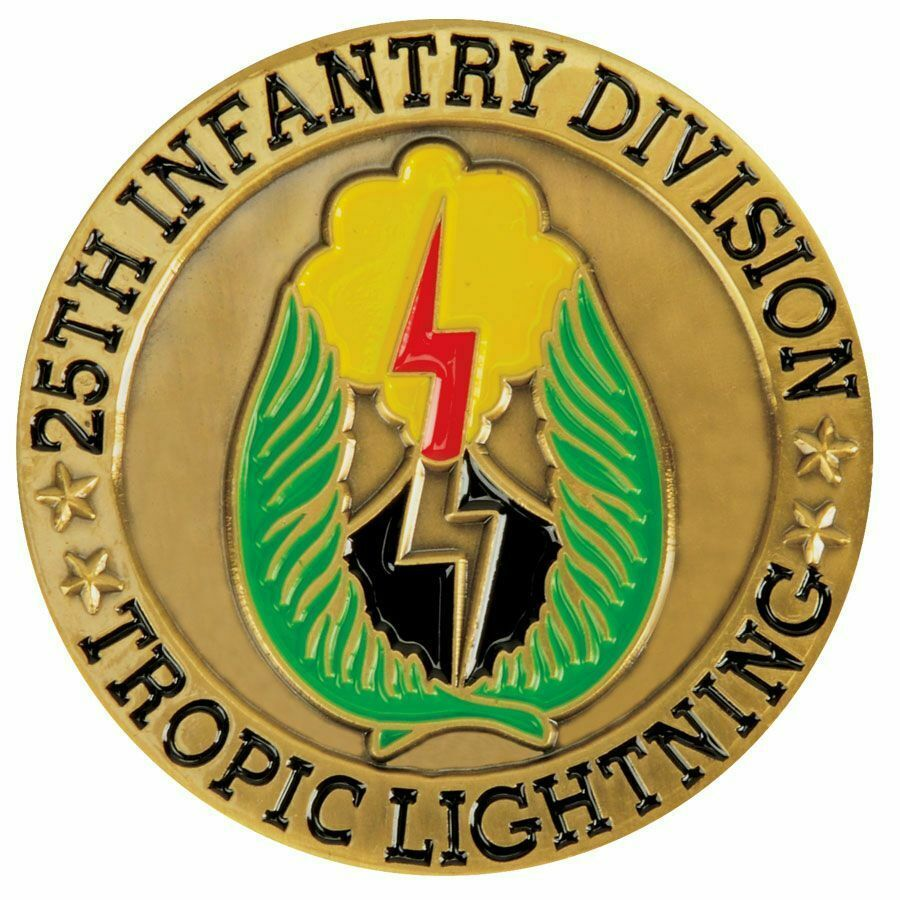 """ARMY 25TH INFANTRY DIVISION TROPIC LIGHTNING 1.75"""" CHALLENGE COIN"""