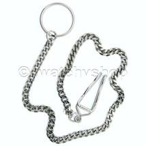 "Silver Antique Pocket Watch Chains Fob 14"" with Key Ring Nice Mens Acces... - $12.99"