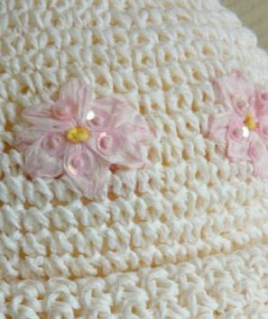 White w/pink sequined Flowers Rolled Crocheted Hat- SM.
