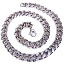 "Stainless Steel Polish Curb Chain Men Necklace 12mm 18"" - $17.80"