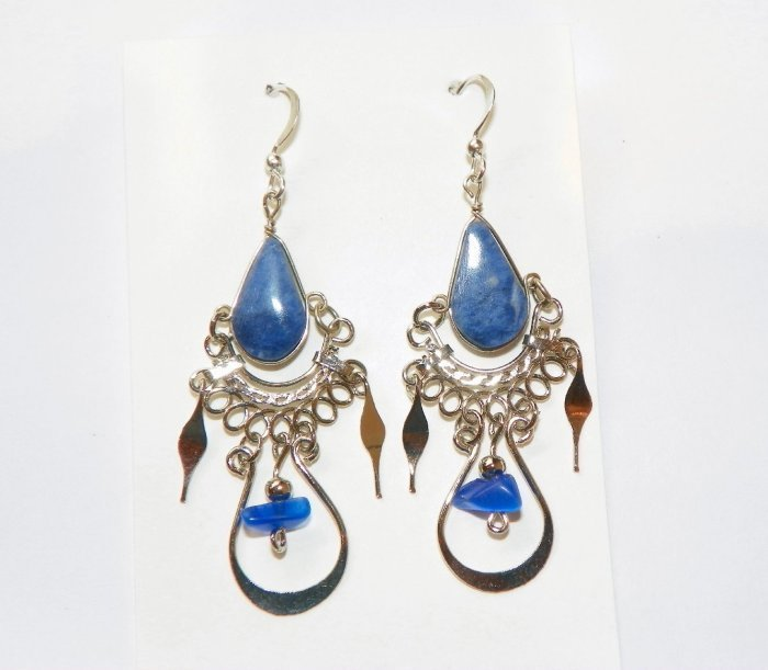 Primary image for Lapis Lazuli Earrings, Exotic Peruvian Ornate Hand-crafted Alpaca Silver