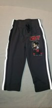 Disney Boys 2T Pants Mickey Mouse Stretch Waist Gray Red Black Stripe Sides - $9.90