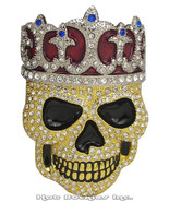 Big Rhinestone Skull Crown Belt Buckle - $25.00