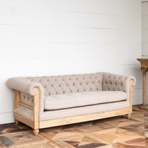 Restoration Deconstructed Chesterfield Sofa Wood & Linen Tufted Nailheads  - $2,977.00