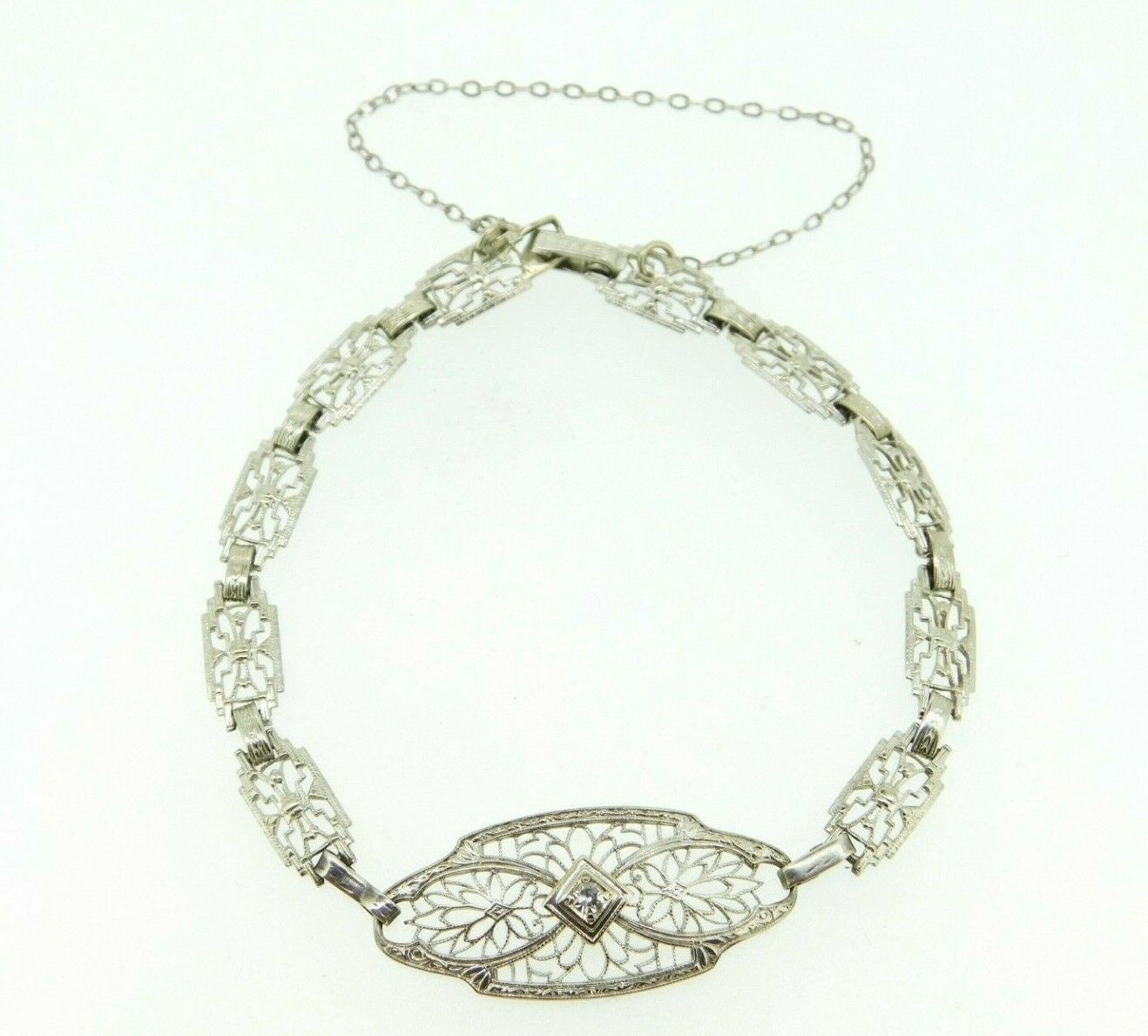 Primary image for 10k White Gold Art Deco Filigree Bracelet with Genuine Natural Diamond (#J663)