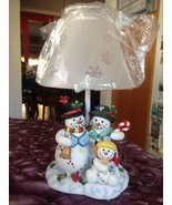 Large Partylite Holiday Xmas Snowman Family Tealight Lamp Rare Retired B... - $99.99