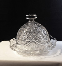 Imperial Hobstar Aka Roanoke Star # 282 c1910 Covered Butter Dish Eapg Glear Vf! - $34.95