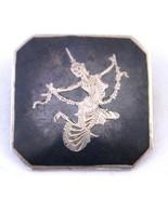 Siam Silver Brooch Square Damascene Silver Brooch Niello Dancing Lady Pin - $27.81