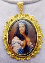 18k Hand Painted Portrait Pin / Pendant (#3419) - $936.23