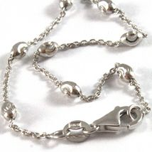"""18K WHITE GOLD ROLO ALTERNATE CHAIN NECKLACE 3mm FACETED OVAL BALLS 16"""" image 4"""