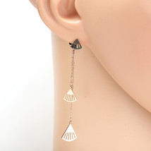Rose Tone Designer Drop Earrings with Dangling Chain & Shell Shaped Accents - $15.99