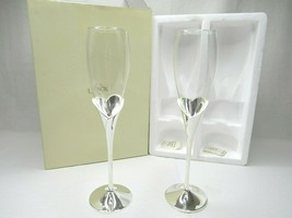 LENOX Crystal Wedding Promises Heart Flute Pair Champagne Toasting Glass... - $26.70