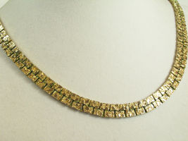 Gold NUGGET Style Link Necklace Plated Chain Vintage Classic Office Career image 4