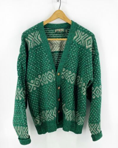 Primary image for VTG 90s American Eagle Cardigan Sweater Mens L Green Wool Blend Hipster Grampa