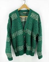 VTG 90s American Eagle Cardigan Sweater Mens L Green Wool Blend Hipster ... - $44.55
