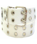 Canvas 2 Hole With Silver Grommet Belt In WHITE  XS-XL Wide Web Casual 1... - $12.99