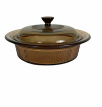 Corning Ware Visions Amber V-31-B 1 Qt Casserole with Glass Lid V-1.5-C - $19.25