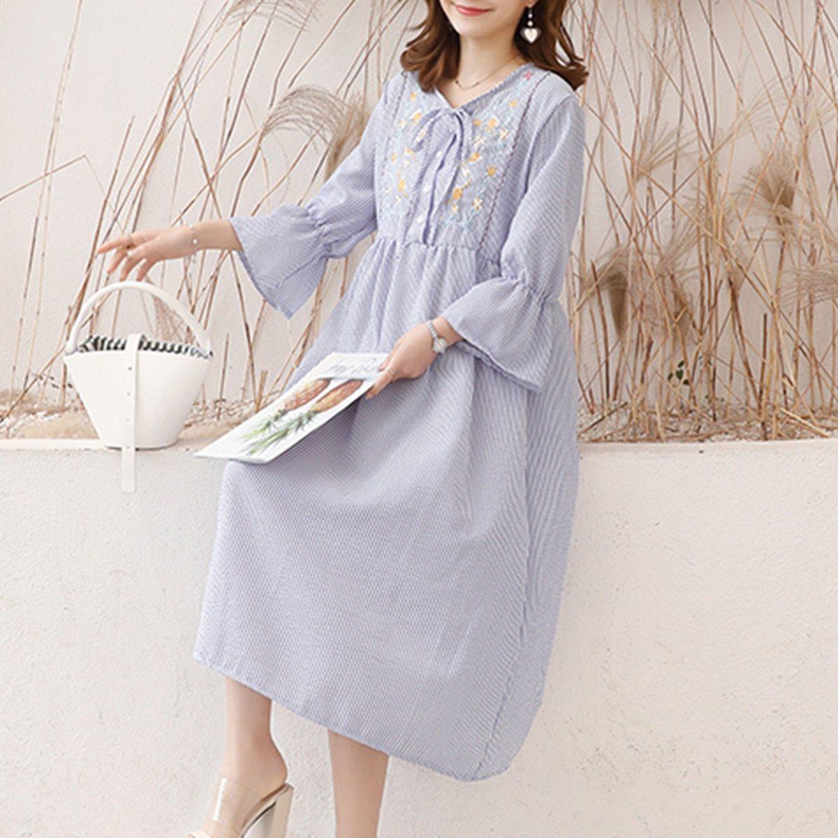 Maternity's Dress Fashion Long Sleeve Embroidery Pattern Loose Dress image 3