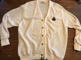 Vintage IZOD White Cardigan Sweater L Made In The USA - $25.64