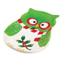 "*16064-B  Holiday Hoot Owl 9"" Colorful Green Ceramic Serving Plate - $8.05"