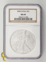 2005 Silver 1 oz American Eagle $1 NGC Graded MS69 - $49.49