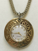 Caravelle Swiss Watch Pendant on Necklace Vintage Brass Metal Snake Chai... - £19.92 GBP