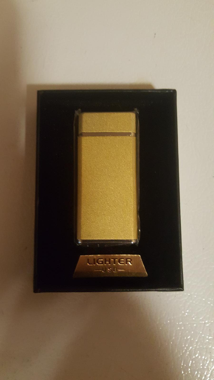 Lighter Usb Electronic  Rechargeable Flame-less Double Arc - Gold