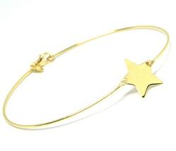 18K YELLOW GOLD BANGLE MINI BRACELET, SEMI RIGID, FLAT STAR, MADE IN ITALY image 1