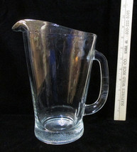 """Large Heavy Clear Glass Beer Pitcher Water Juice Thick 9"""" Tall - $19.79"""