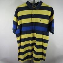 Ralph Lauren Golf-Poloshirt Größe L L Gelb Marineblau Streifen Blau Pony D20 - $16.03