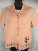 Koret Faux Layer Button Short Sleeve Shirt Size XL Peach w/ White Unders... - $17.77