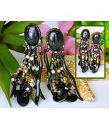 Vintage Chipita Earrings Black Oval Beaded Dangles Joan Eagle Unsigned - $32.95
