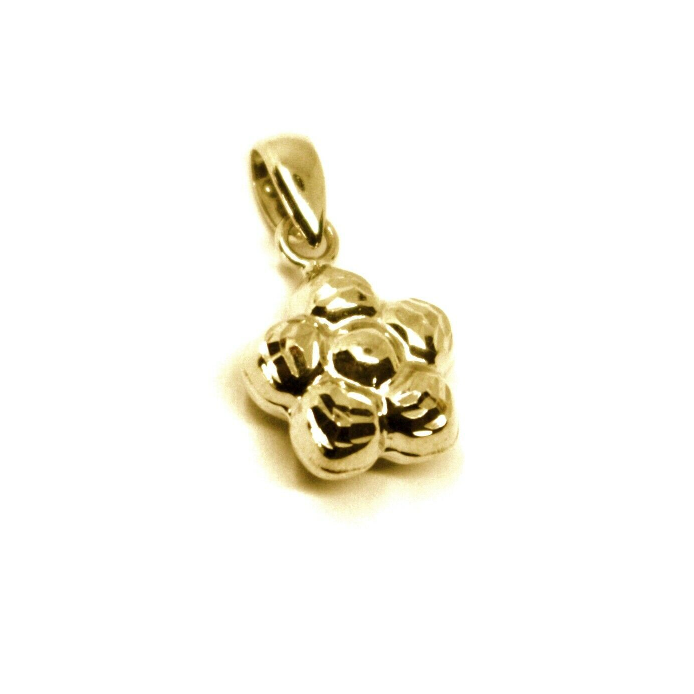 18K YELLOW GOLD MINI ROUNDED FLOWER PENDANT 10mm DIAM. TWO FACES SMOOTH & WORKED