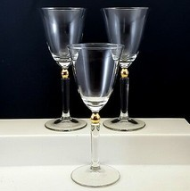 Gorham Touch of Gold Wine Glasses Set of 3 Clear with Gold Ball Stem 6 oz - $18.51
