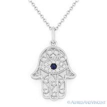 0.09ct Diamond Sapphire Hamsa Hand of Fatima Evil Eye Charm Pendant 14k Wht Gold - $279.99
