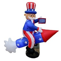 Patriotic 4th of July Independence Day Inflatable Uncle Sam on Rocket 6'... - €83,81 EUR