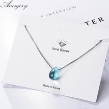 Anenjery Literary Artificial Blue Crystal  Water Drop Necklace 925 Sterling Silv - $17.87