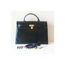 Authentic Valentino Le Sacs vintage Black Leather Kelly 2 Way Tote  - $980.00