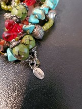 Chico's Turquoise and Glass Bead Layered Stretch Bracelet Vintage Jewelr... - $10.94