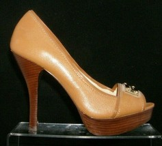 Michael Kors MK Classic brown Logo Plate 1981 peep toe platform heels 7M - $41.72