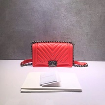 AUTHENTIC NEW CHANEL CORAL RED CHEVRON QUILTED CALFSKIN MEDIUM BOY FLAP BAG RHW image 2