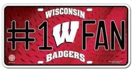 Wisconsin Badgers UW Madison #1 Fan License Plate - NEW - Father's Day - $9.99