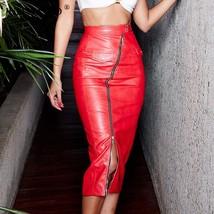 JULISSA MO Sexy High Waist Split PU Leather Skirts Womens Zipper Buttons Bodyco - $42.99