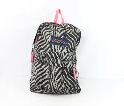 Vintage 90s JanSport Spell Out Zebra Striped School Backpack Book Bag Nylon - $29.65