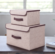 Cotton And Liene Storage Box With Cap 2 Size Cl... - $24.66