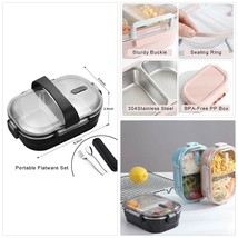 WORTHBUY 2 Compartments Bento Lunch Box, Stainless Steel Bento Box Conta... - $33.31 CAD